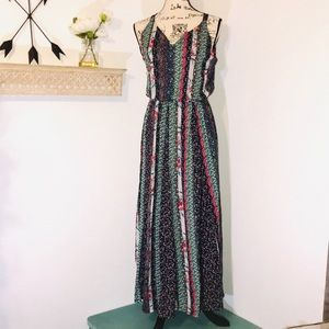 Style & Co floral patchwork boho dress Size PM